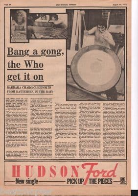 The Who Bang a Gong original Vintage Music Press Article cutting/clipping 1973