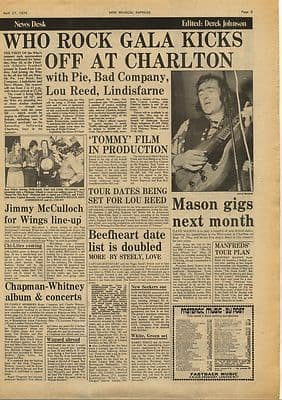 The Who Charlton + Tommy Film Vintage Music Press Article/cutting/clipping 1974