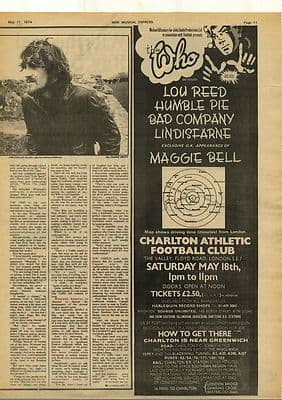 The Who LOU REED Bad Company LINDISFARNE Vintage Music Press Advert cutting/clipping 1974