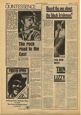 Thin Lizzy QUINTESSENCE Interviews Vintage Music Press Article/cutting/clipping 1973