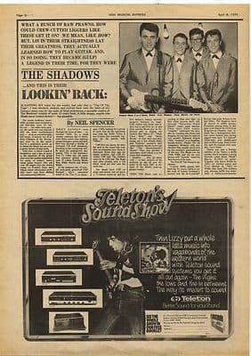 Thin Lizzy Teleton Soundshow Advert Music Press Article/cutting/clipping 1974