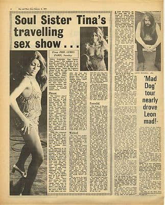 Tina Turner Live review LEON RUSSELL Vintage Music Press Article/cutting/clipping 1971