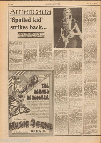 Todd Rundgren Spoiled Kid... Music Press Article cutting/clipping 1974