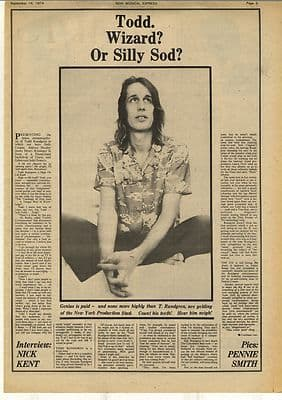 Todd Rundgren Wizard? 1 page Interview Vintage Music Press Article/cutting/clipping 1974