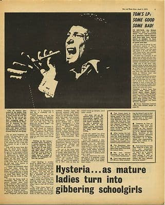 Tom Jones Interview & LP review Vintage Music Press Article/cutting/clipping 1970