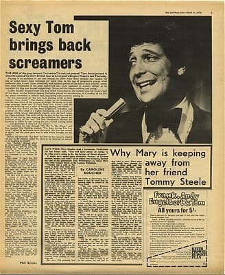 Tom Jones Live review MARY HOPKIN Vintage Music Press Article/cutting/clipping 1970