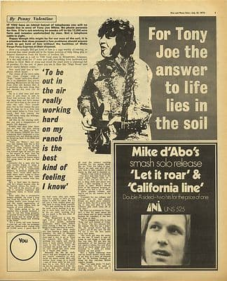 Tony Joe White Interview Vintage Music Press Article/cutting/clipping 1970
