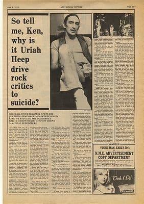 Uriah Heep Ken hensley Interview Vintage Music Press Article/cutting/clipping 1974