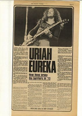 Uriah Heep Mick Box Interview Vintage Music Press Article/cutting/clipping 1972