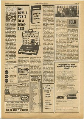 VCS 3 Synthesizer review Vintage Music Press Article/cutting/clipping 1973