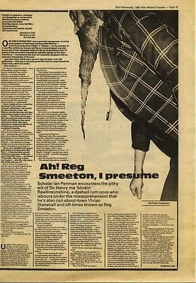 Vivian Viv Stanshall 1½ page Interview Music Press article/cutting/clipping 1980