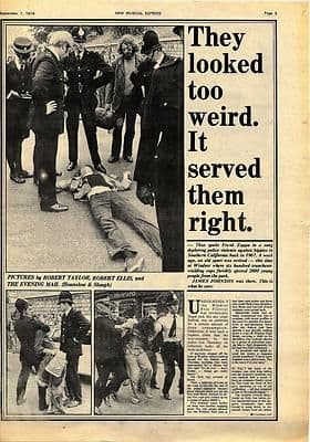 WINDSOR FREE FESTIVAL Police Violence Vintage Music Press article/cutting/clipping 1974