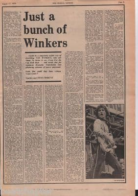 WINKIES Just a bunch of Winkers original Vintage Music Press Article cutting/clipping 1973