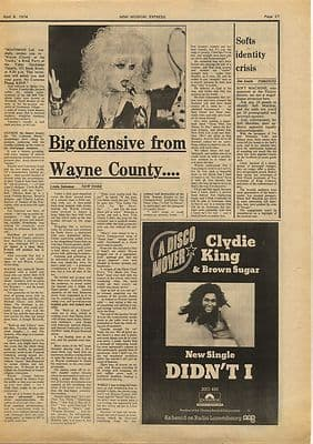 Wayne County Big Offensive Interview Vintage Music Press Article/cutting/clipping 1974