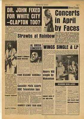 Wings The FaceS Dr John CLAPTON Vintage Music Press Article/cutting/clipping 1973