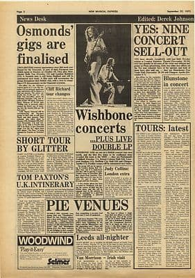 Wishbone Ash YES Humble Pie Vintage Music Press Article/cutting/clipping 1973
