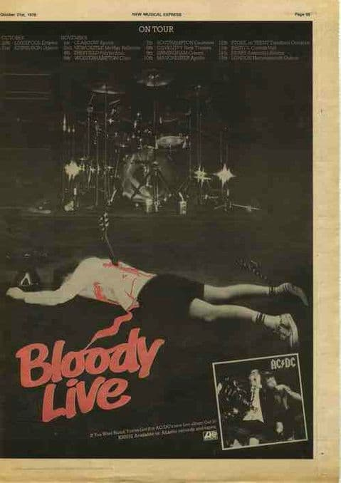 AC/DC If you want blood Tour + LP Poster Size Advert cutting/clipping 1978