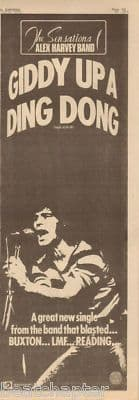 Alex Harvey Giddy Up... Poster Size Original Vintage music press Tour 1973 Advert