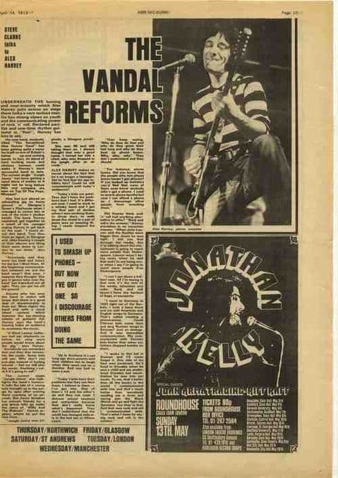 Alex Harvey The vandal reforms article/interview cutting/clipping 1973