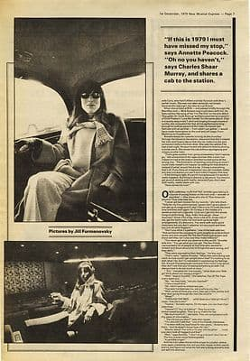 ANNETTE PEACOCK 2 page interview Press article/cutting/clipping 1979