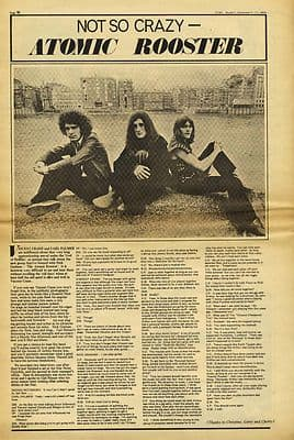 ATOMIC ROOSTER Not so crazy Interview Press article/cutting/clipping 1969