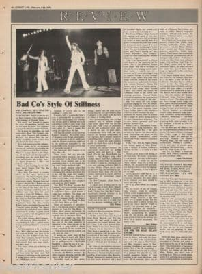 Bad Company Run with the pack 1976 Press Vintage Music Press article LP Review