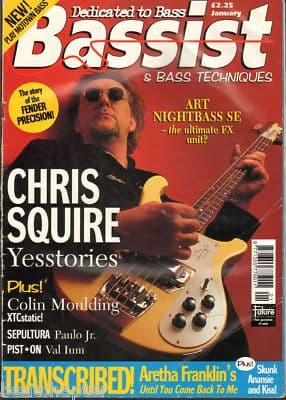 Bassist Magazine January 1997 Chris Squire Yes Sepultura XTC Colin Moulding