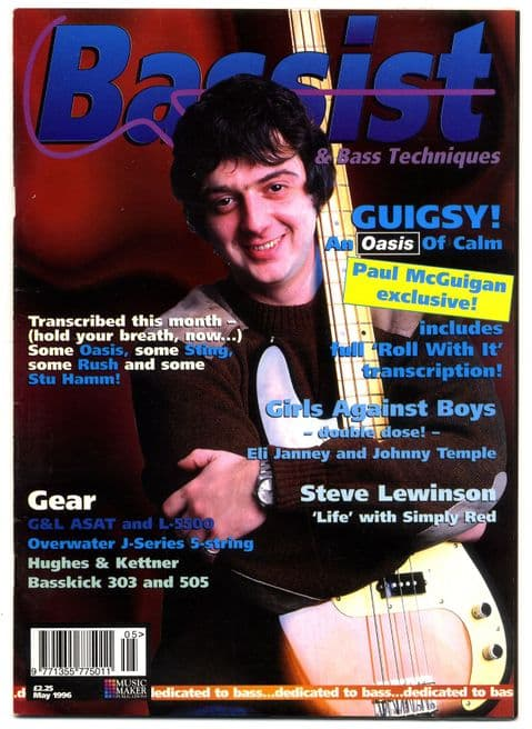 Bassist Magazine May 1996 Oasis Paul McGuigan Eli Janney Sting Stu Hamm Rush