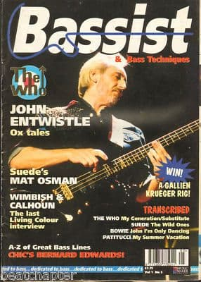 Bassist Magazine Vol 1 No 5 Mar 1995 John Entwistle The Who Suede David Bowie Chic
