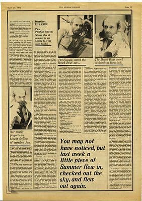 Beach Boys Mike Love Interview Music Press article/cutting/clipping 1975