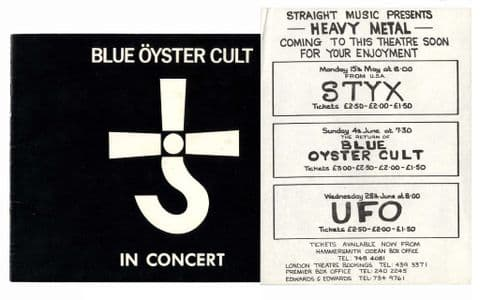 Blue Oyster Cult UFO STYX Rare Flyer Hammersmith Odeon + BOC Tour Programme 1978