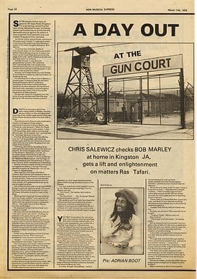Bob Marley 1 page interview Music Press article/cutting/clipping 1979