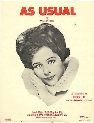 Brenda Lee As usual Rare Original UK Sheet Music
