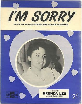 Brenda Lee I'm Sorry Rare Original UK Sheet Music