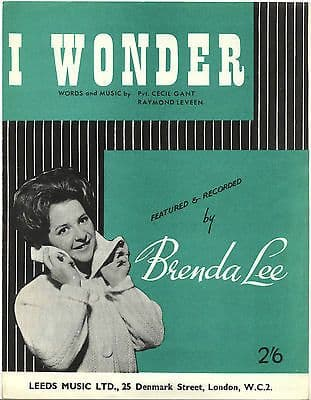 Brenda Lee I Wonder Rare Original UK Sheet Music