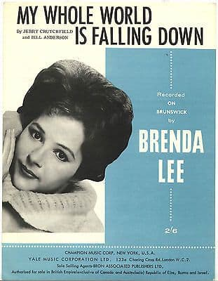Brenda Lee My whole world is falling down Rare Original UK Sheet Music