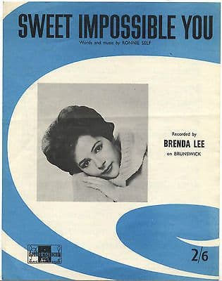 Brenda Lee Sweet impossible you Rare Original UK Sheet Music