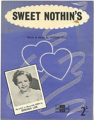 Brenda Lee Sweet Nothin's Rare Original UK Sheet Music