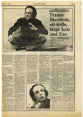 Brian Eno 1 page Interview Music Press article/cutting/clipping 1974
