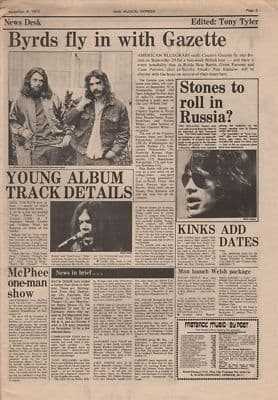 BYRDS NEIL YOUNG Rolling Stones News original Vintage Music Press article 1973