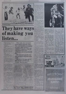 Can They have ways of making you listen 2 Page original Vintage Music Press article 1974