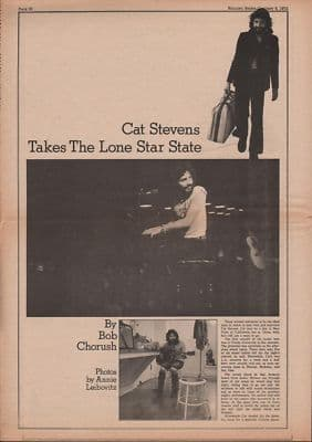 Cat Stevens Takes the lone star state 3 Page original Vintage Music Press article 1972