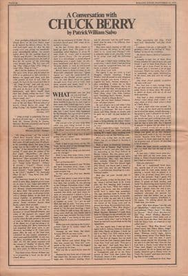 CHUCK BERRY 4 page interview original Vintage Music Press article 1972