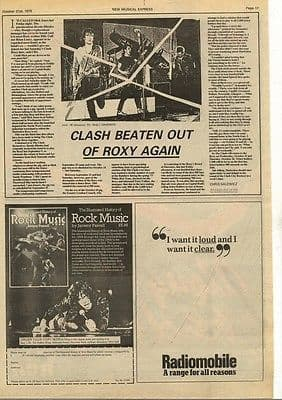 Clash Beaten out of Roxy again article press cutting/clipping 1978