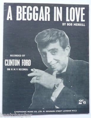 CLINTON FORD A beggar in love Rare Vintage Sheet Music
