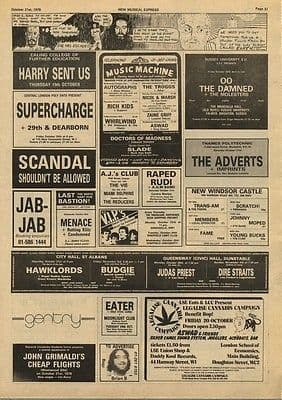 Damned ADVERTS Penetration Judas Priest gigs press cutting/clipping 1978