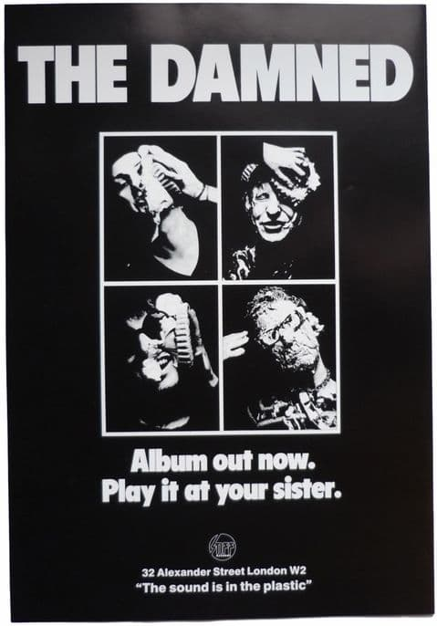 Damned Play it at your Sister RARE Stiff Records Vintage Poster