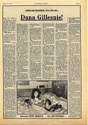 DANA GILLESPIE Interview Vintage Music Press article/cutting/clipping 1974