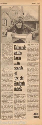 Dave Edmunds On the farm... Music Press Article cutting/clipping 1973