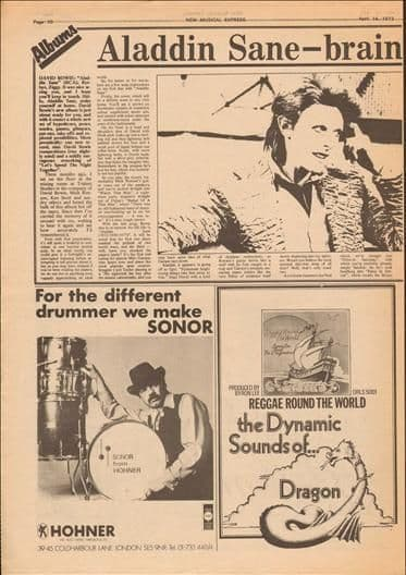 David Bowie Aladdin Sane LP Review Music Press Article cutting/clipping 1973